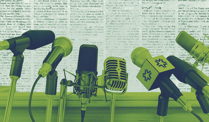 News post header featuring microphones