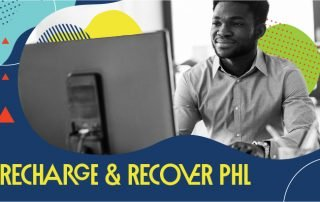 """Header Graphic Depicting a Person at a Computer and the Words """"Recharge & Recover PHL"""""""